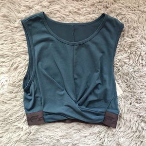 Fabletics Teal Powertouch Light Front Twist Tank